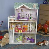 Domek dla lalek barbie drewniany Rezydencja  +lalka  duży 124cm