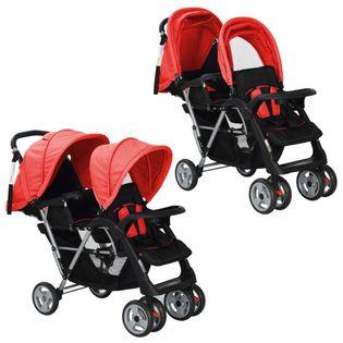 Wózek spacerowy dla bliźniąt, tandem czerwono-czarny