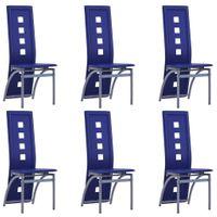 Krzesła stołowe 6 szt. niebieskie sztuczna skóra VidaXL