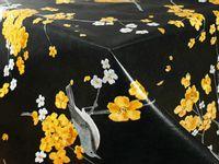 Obrus Cerata Gładka Dekoracyjna Żółte Kwiaty Ptaki 140cm x 10cm CA465