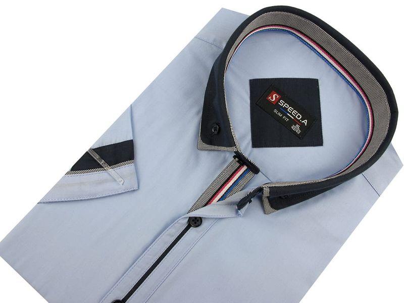 Koszula Męska Speed.A gładka błękitna SLIM FIT z podwójnym kołnierzykiem na krótki rękaw  K637 L 41 176/182 zdjęcie 4