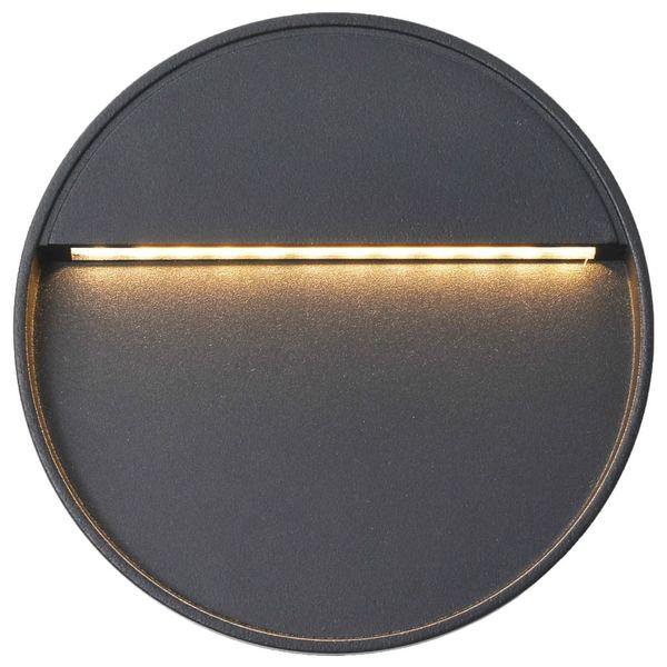 Lampy ścienne zewnętrzne LED, 2 szt., 3 W, czarne, okrągłe zdjęcie 4