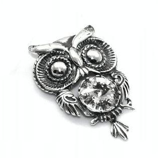 Wisiorek srebrny sowa z kryształami