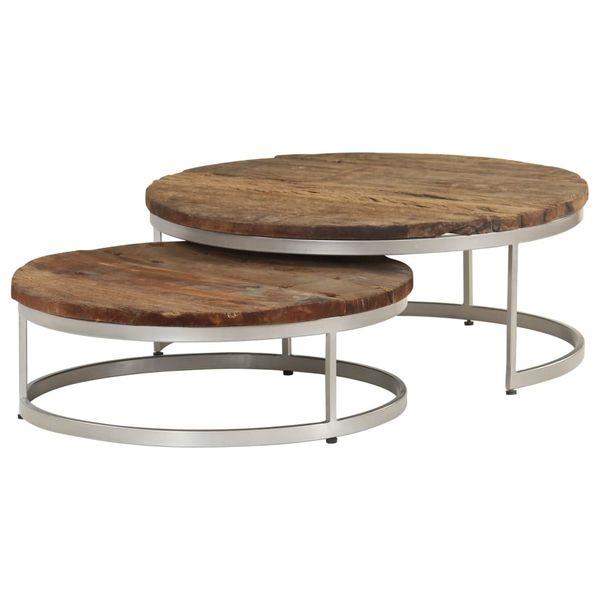 Stół Stolik Stoliki Kawowe Drewniane Stal 2 Sztuki Okrągłe