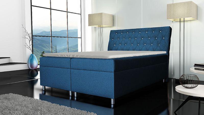 Łóżko tapicerowane kontynentalne 140x200 z materacem pojemnikiem zdjęcie 9
