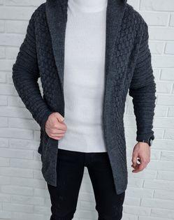 Szary dlugi sweter meski kardigan pleciony 2449 - M