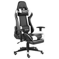 Lumarko Obrotowy fotel gamingowy z podnóżkiem, biały, PVC