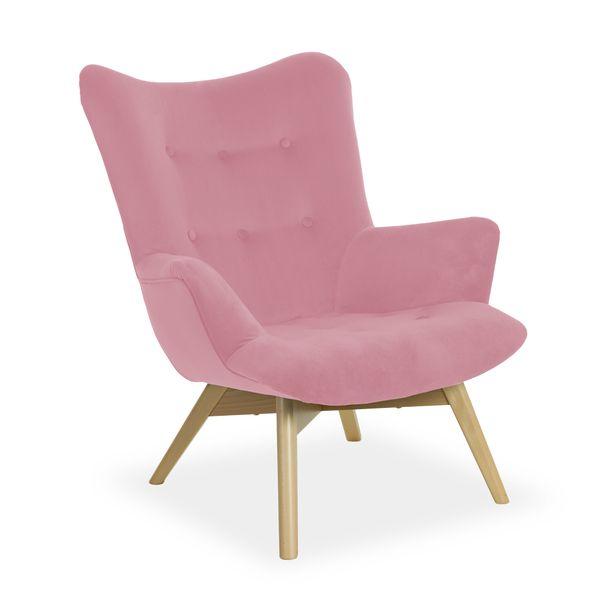 Fotel ANGEL różowy uszak tapicerowany HIT ! zdjęcie 1