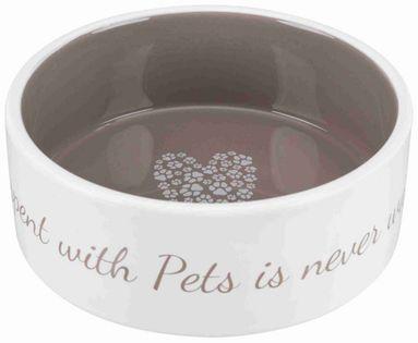 Trixie Miska Ceramiczna Pet's Home, 0.8 L/o 16 Cm, Kremowa/ciemnoszara [Tx-25054]