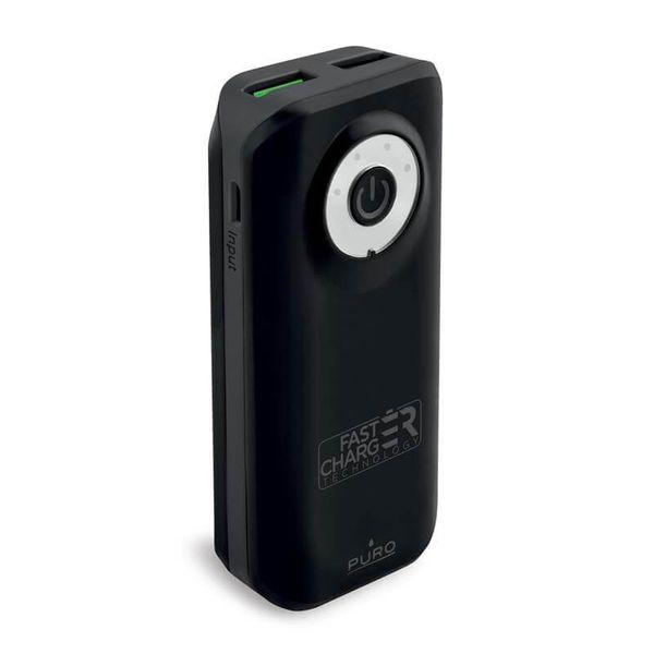 PURO Universal External Fast Charger Battery - Power Bank 4000 mAh, 2 x USB, 2.4 A (czarny) zdjęcie 2