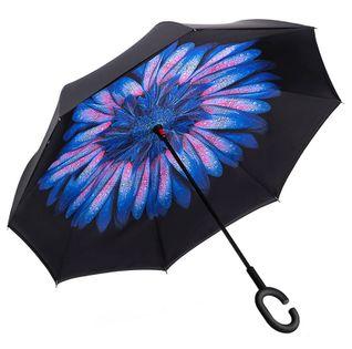 """Parasol odwrócony """"Revers"""" - kwiat w kroplach deszczu"""