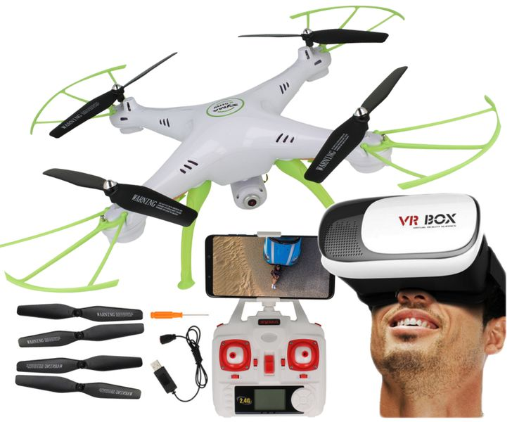 Dron Syma X5HW kamera Wi-Fi funkcja zawisu Gogle VR 3D Biały Y142GB zdjęcie 12