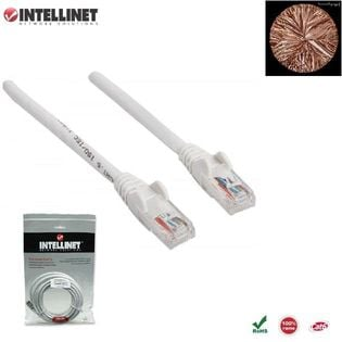 Patch Cord 100% miedź Intellinet Cat.6 UTP, 0,5m, biały ICOC U6-6U-005-WH