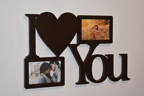 Multirama drewniana ramka na zdjęcia  z napisem I love You
