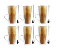 Szklanki Termiczne do Kawy Latte Herbaty 320ml z Łyżeczkami 6 sztuk