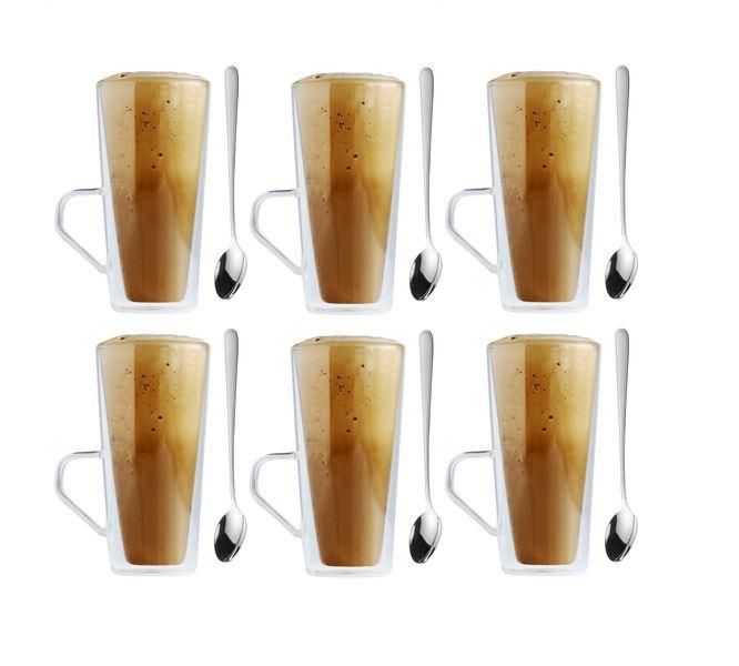 Szklanki Termiczne Do Kawy Latte Herbaty 320ml Z Uchem Zestaw 6