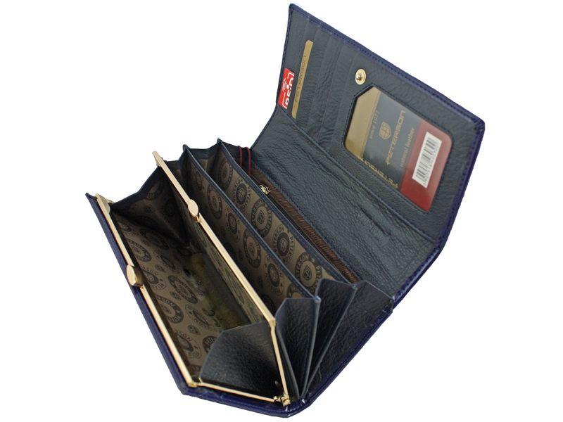 Duży granatowy portfel damski, RFID, Peterson zdjęcie 3