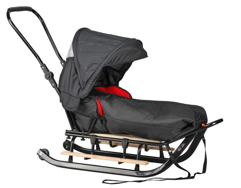 SANKI dla dzieci z budką (czarne) +śpiwór + pchacz + podnóżki + kółka zdjęcie 3