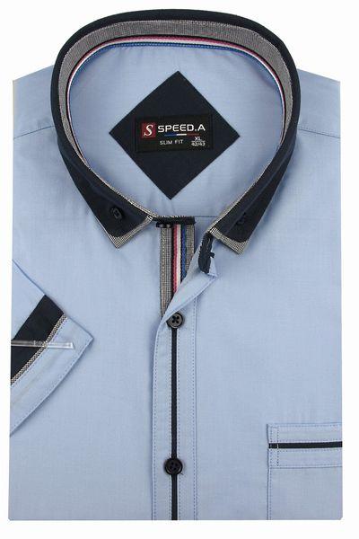 Koszula Męska Speed.A gładka błękitna SLIM FIT z podwójnym kołnierzykiem na krótki rękaw  K637 L 41 176/182 zdjęcie 1