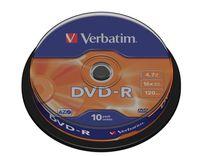 DVD-R VERBATIM 4.7GB X16 MATT SILVER (10 CAKE)