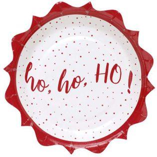 """Talerzyki papierowe """"Ho Ho Ho - Boże Narodzenie"""", SANTEX, 18 cm, 10 szt"""