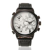 Zegarek męski Oulm 3299, biały, bazowy, 3 czasy, analogowy, skórzany