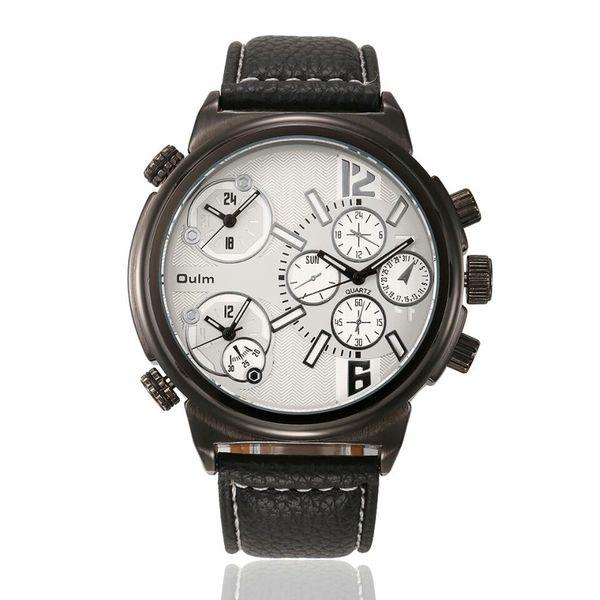 Zegarek męski Oulm 3299, biały, bazowy, 3 czasy, analogowy, skórzany na Arena.pl