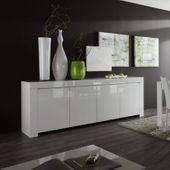 Amalfi komoda biała lakierowana 210 cm wysoki połysk salon