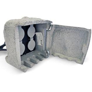 Przedłużacz Ogrodowy Kamienny Przedłużacze Lekko Szary 4 Gniazda 230 V