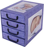 Pudełko Kartonowe 4 Szuflady Pionowe Śpiące  Dzieci Błękit