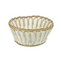 Koszyk pleciony z tworzywa okrągły biało-beżowy