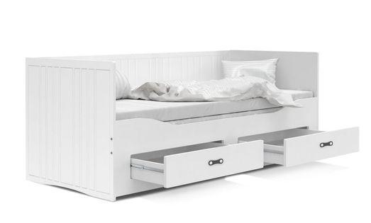 Łóżko rozkładane HERMES materace szuflady białe