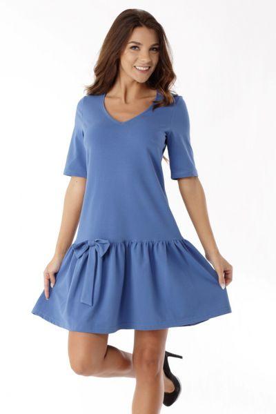 5e6e4939eb Sukienka z falbaną i kokardą ED05 2 Blue Ella Dora Rozmiar - 40 zdjęcie ...