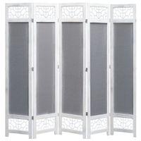 Parawan 5-panelowy, szary, 175 x 165 cm, tkanina