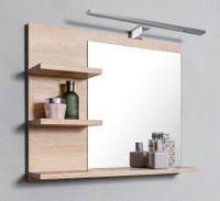 Lustro dąb sonoma 3 półki L ,lampa LED, do łazienki, łazienkowe lustro