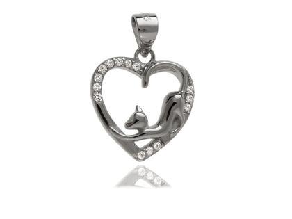 Rodowany srebrny wisior wisiorek serce serduszko kotek cat białe cyrkonie srebro 925 W0368