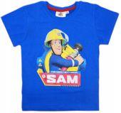 Bluzka Koszulka T-shirt Strażak Sam 128 niebieska
