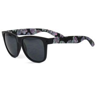 Okulary przeciwsłoneczne czarne z motywem kwiaty