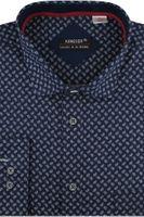 Koszula Męska Koneser granatowa we wzorki na długi rękaw w kroju REGULAR A426 3XL 45 182/188