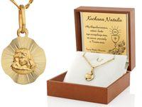 ZŁOTY medalik 585 GRAWER pudełko Chrzest KOMUNIA