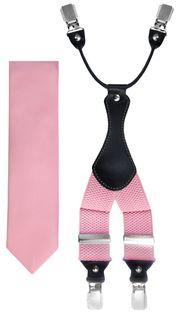 Jasnoróżowy zestaw - szelki i krawat Z35