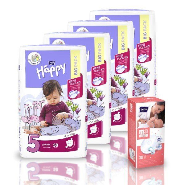 Pieluszki Happy Flexi Junior 4x+Wkładki laktacyjne na Arena.pl