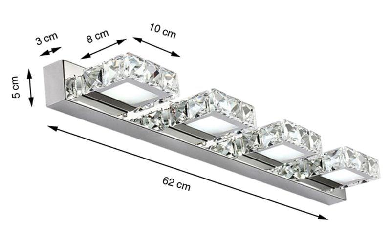 Lampa Nad Lustro Kinkiet łazienkowy Kryształki Led 62 Cm 12w 5980