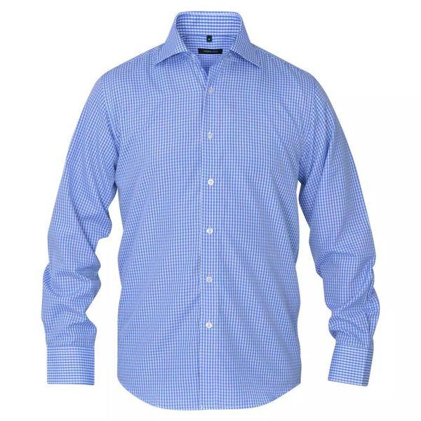 Męska Koszula Biała W Błękitną Kratkę Rozmiar Xxl zdjęcie 2