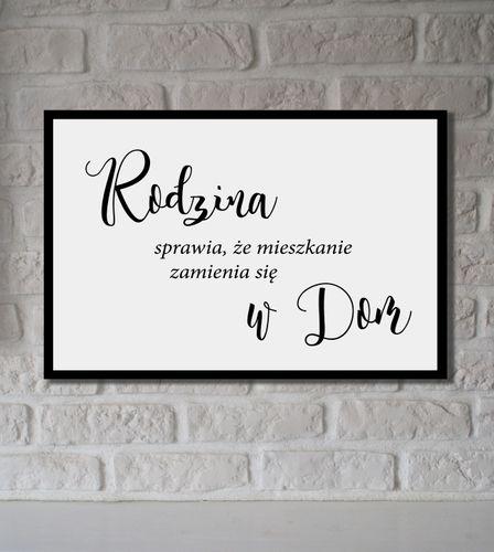 Obraz na płótnie z napisami RODZINA SPRAWIA DOM obrazki do salonu XXL na Arena.pl