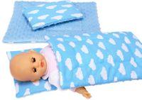 Pościel dla lalki - minky i bawełna pościele BOBO niebieska w chmurki