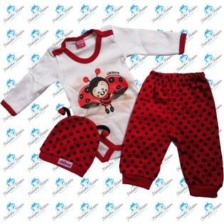 NOWY Komplet niemowlęcy body spodenki czapeczka N043 BIEDRONKA 68