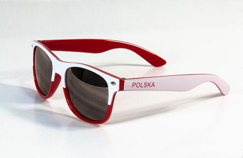 Okulary kibica biało-czerwone przyciemniane POLSKA