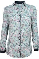 Seledynowa Koszula w Motyle - 40 / L