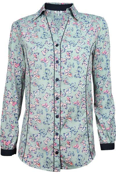 Seledynowa Koszula w Motyle - 40 / L zdjęcie 1